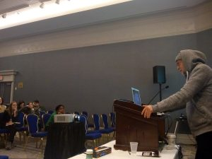 AbdouMaliq Simone discussing the launch of the RHJ and our Antipode project at the AAG 2019 in Washington, DC